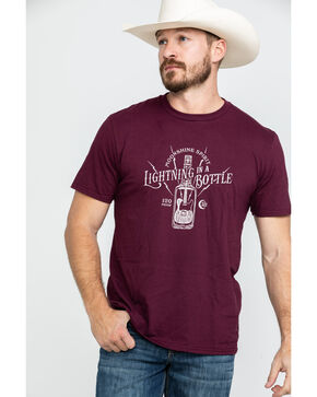 Moonshine Spirit Men's Lightning Bottle Graphic T-Shirt , Maroon, hi-res