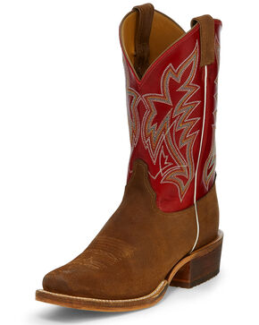 Justin Men's Navigator Western Boots - Square Toe, Brown, hi-res