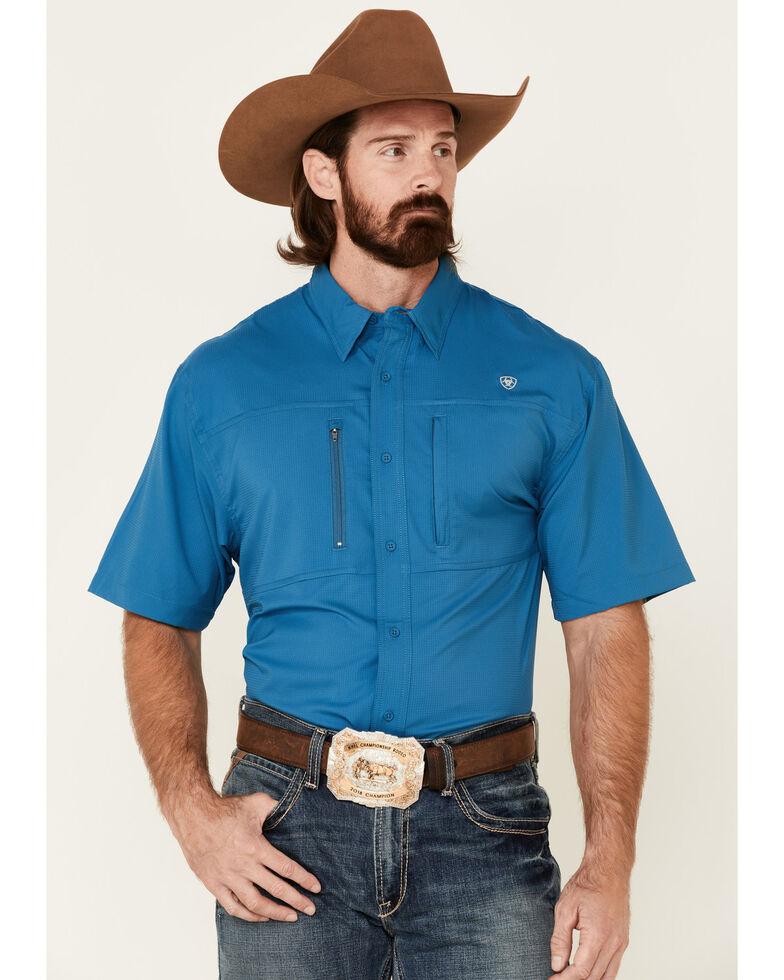 Ariat Men's Solid Teal Vent Tek Short Sleeve Button-Down Western Shirt - Tall, Blue, hi-res