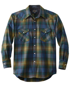 Pendleton Men's Green Canyon Plaid Long Sleeve Western Flannel Shirt , Green, hi-res