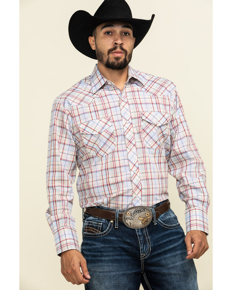 Roper Men's Classic Tan Plaid Long Sleeve Western Shirt , Tan, hi-res
