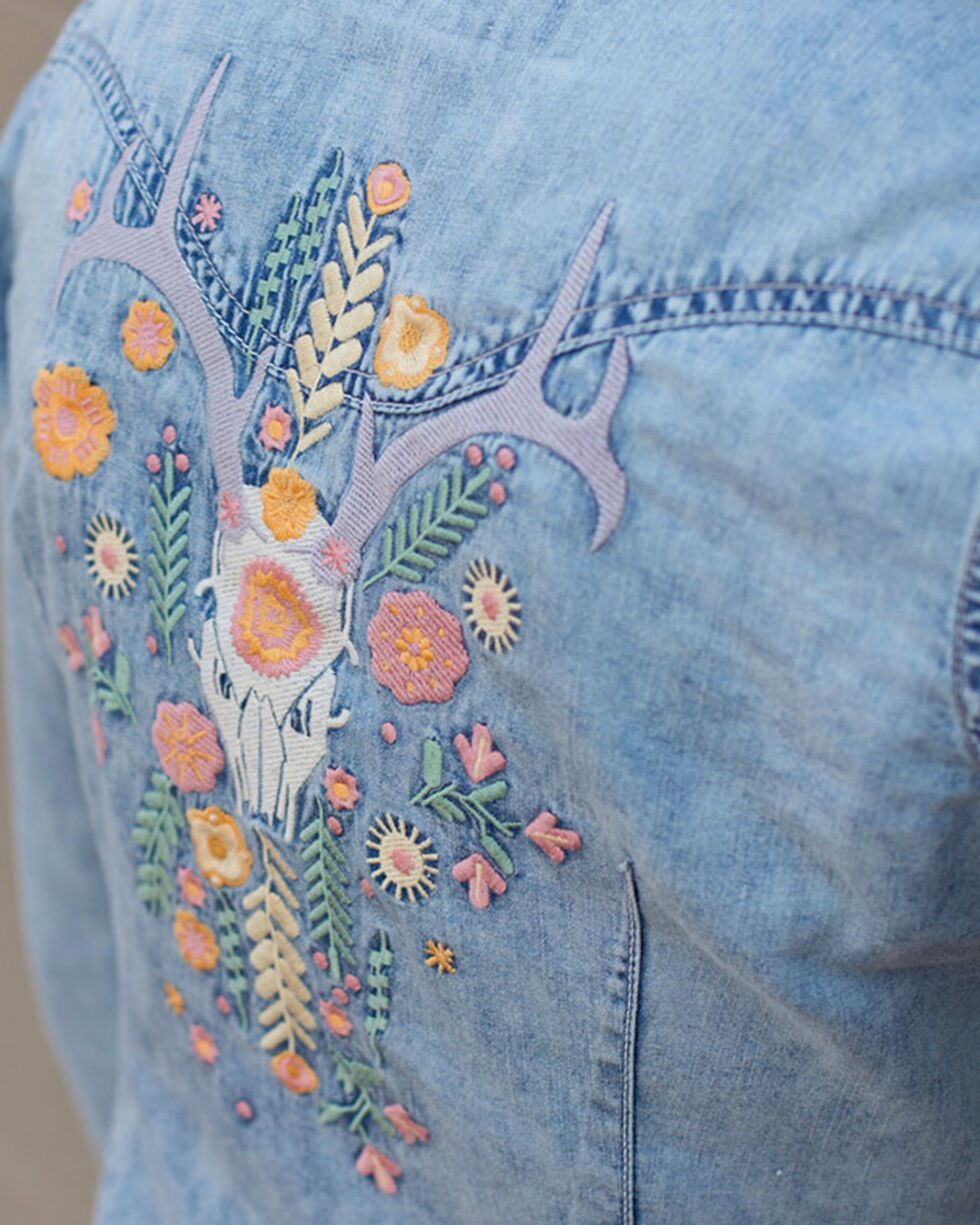Ryan Michael Women's Indigo Floral Embroidered Shirt, Indigo, hi-res