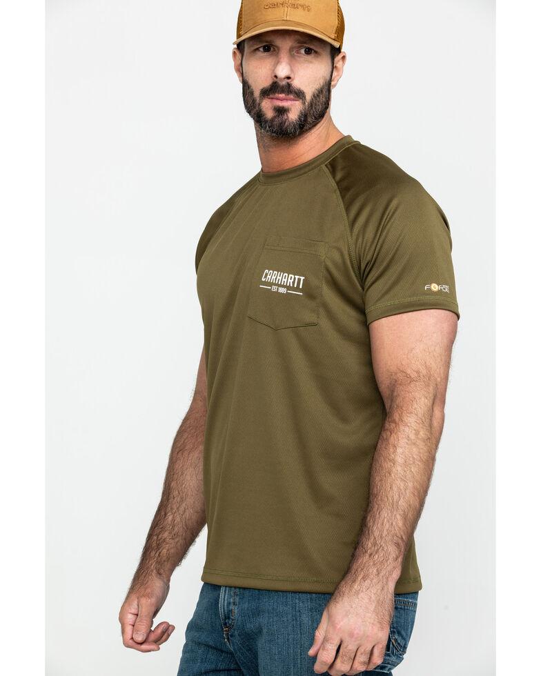 d84ea8d2 Zoomed Image Carhartt Men's Olive Force Birdseye Graphic Short Sleeve Work T -Shirt, Olive, hi