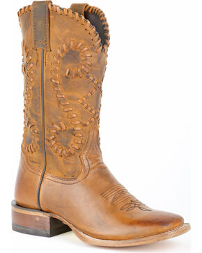 Stetson Women's Saffron Buck Stitch Western Boots, Brown, hi-res