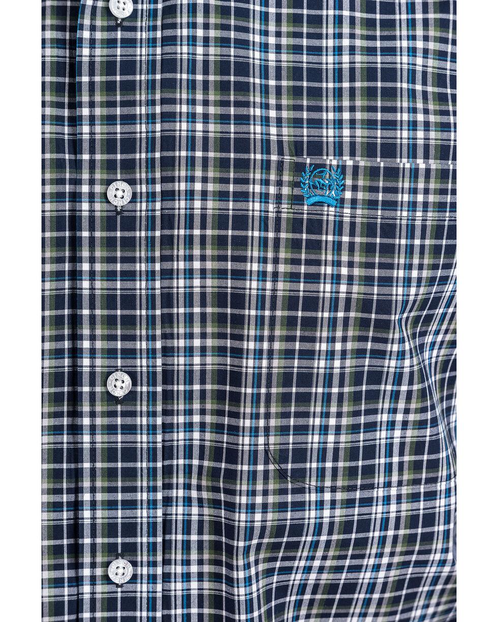 Cinch Men's 4X Check Plaid Long Sleeve Western Shirt , Navy, hi-res