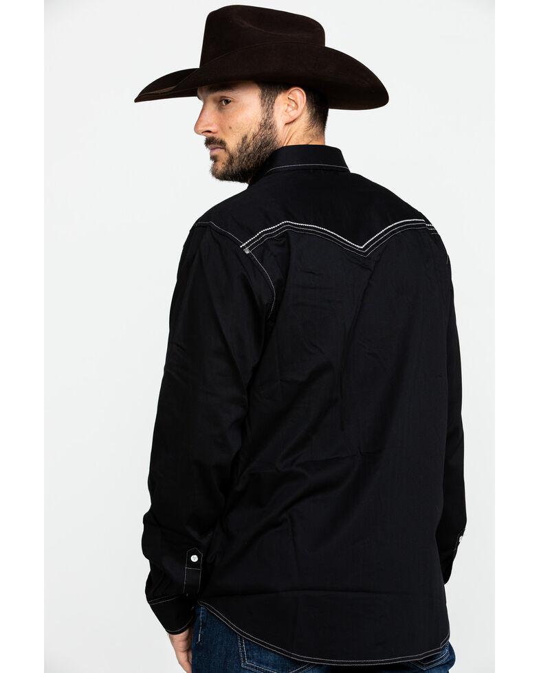 Rock 47 By Wrangler Men's Black Solid Vintage Long Sleeve Western Shirt , Black, hi-res