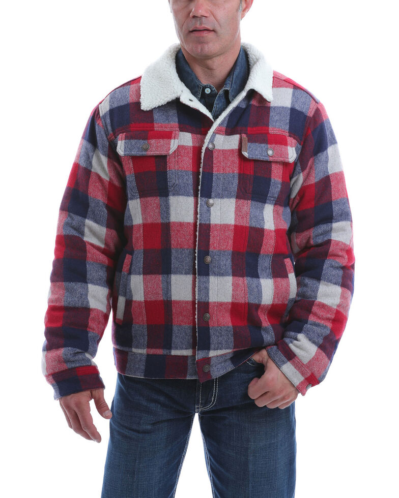 Cinch Men's Multi Plaid CC Sherpa Lined Trucker Jacket , Multi, hi-res