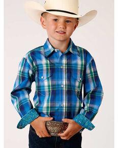Roper Boys' Amarillo Blue Water Plaid Long Sleeve Western Shirt , Multi, hi-res