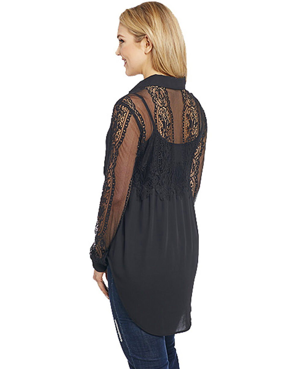 Cowgirl Up Women's Sheer Sleeve Top , Black, hi-res