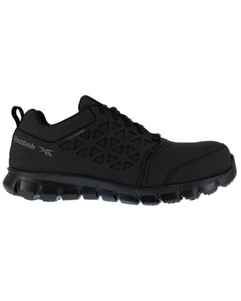 Reebok Men's Black Sublite Cushioned Work Shoes - Composite Toe, Black, hi-res