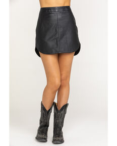 BB Dakota Women's Conrad Leather Mini Skirt, Black, hi-res