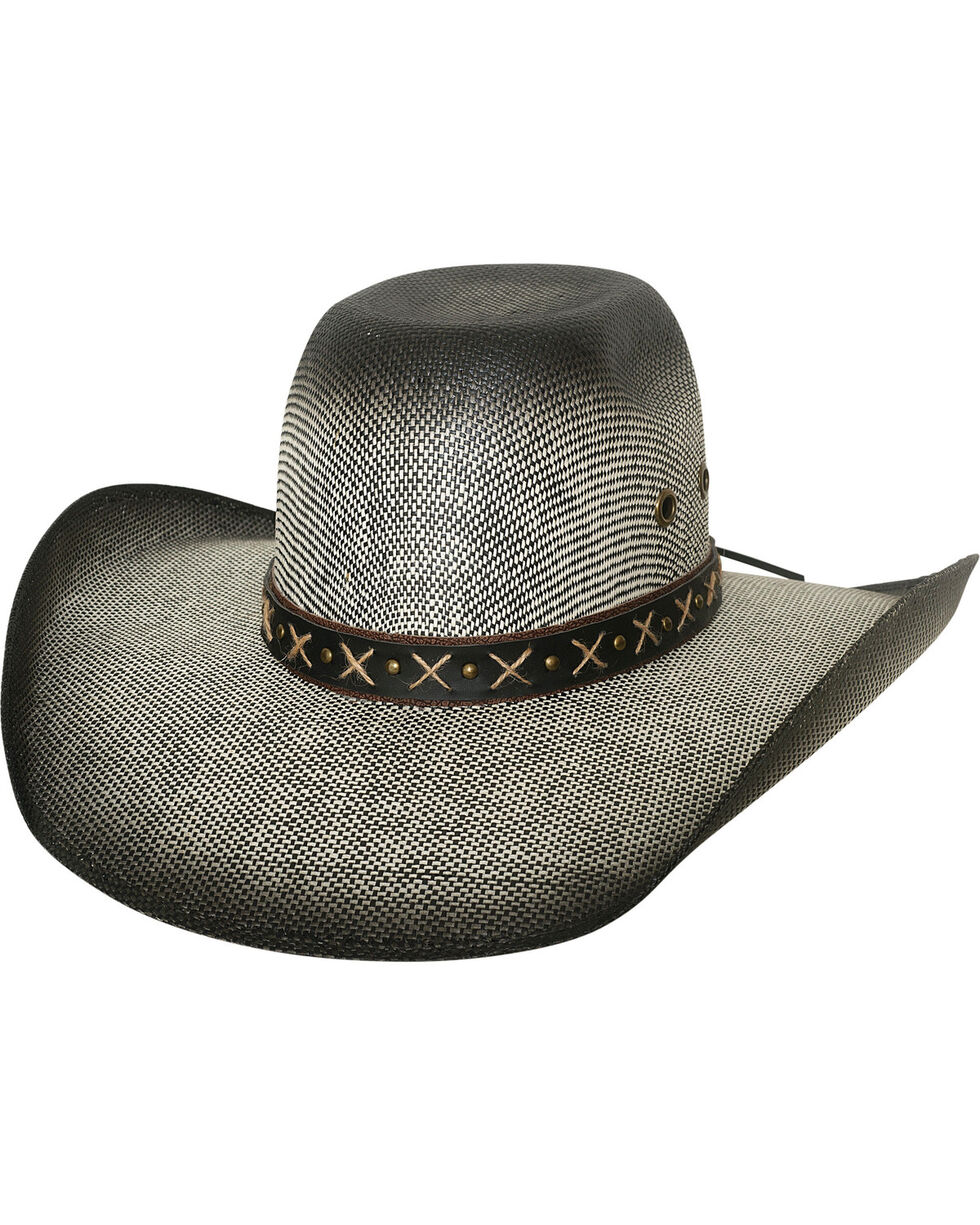 Bullhide Men's Ranny Black Bangora Straw Cowboy Hat, Black, hi-res