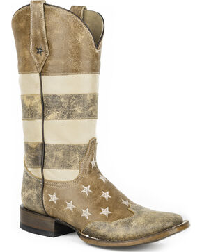 Roper Women's Brown Vintage American Flag Western Boots - Square Toe, Brown, hi-res