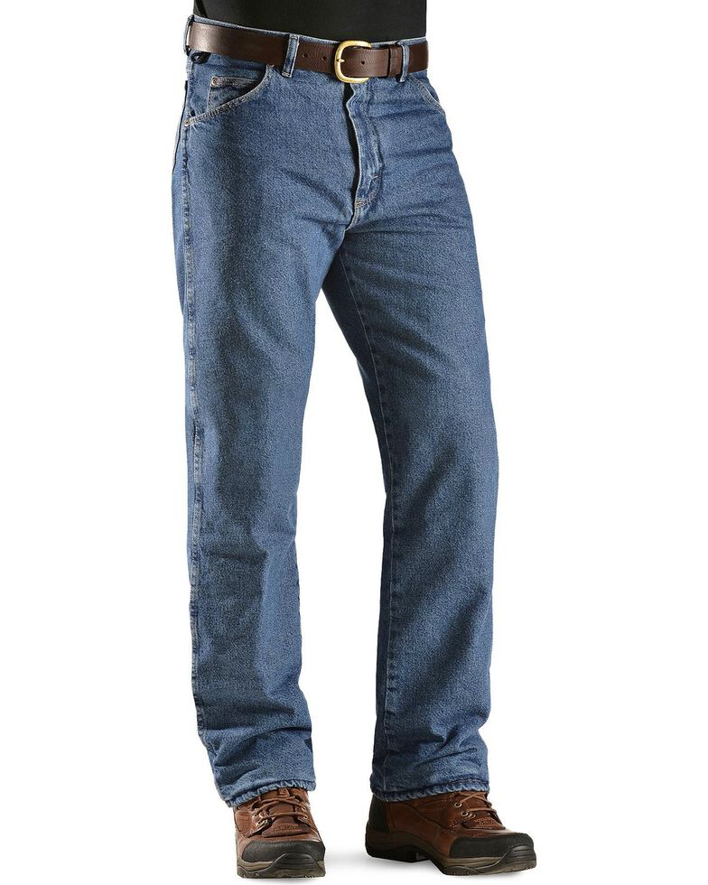 2c0b1f1b Zoomed Image Wrangler Jeans - Rugged Wear Relaxed Fit Flannel Lined,  Stonewash, hi-res