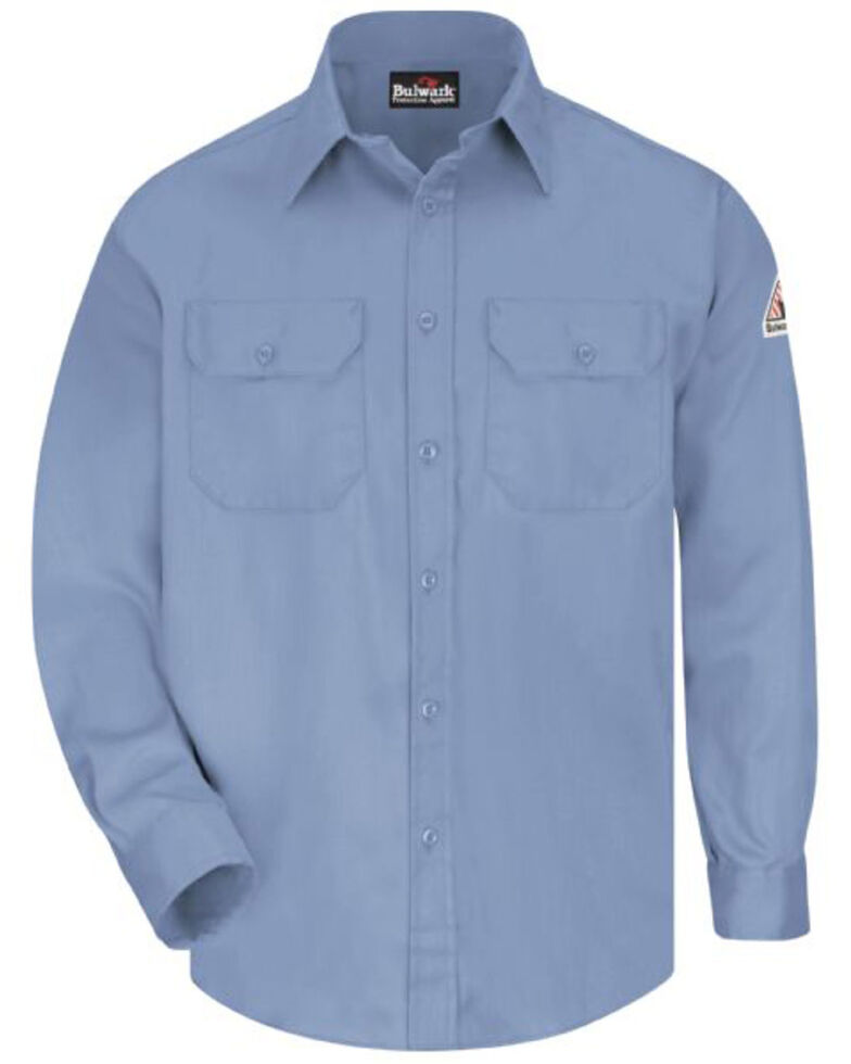 Red Cap Men's Light Blue FR Uniform Long Sleeve Work Shirt - Tall , Light Blue, hi-res