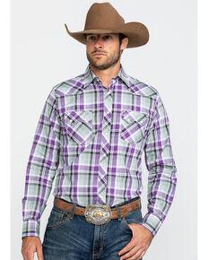 Wrangler Retro Men's Purple Med Plaid Long Sleeve Western Shirt , Purple, hi-res