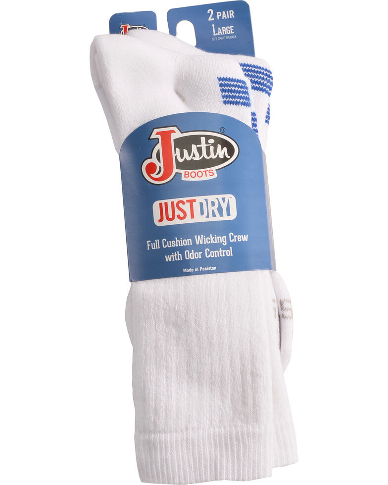 Justin Boots Men's JUSTDRY Socks - White, , hi-res
