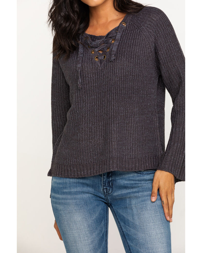 Rock & Roll Cowgirl Women's Lace Up Front Sweater, Charcoal, hi-res