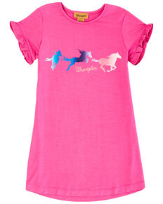 Wrangler Girls' Pink Ruffle Horse Graphic Short Sleeve Dress, Pink, hi-res