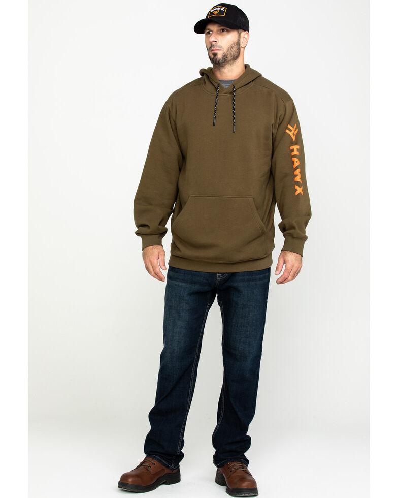 Hawx Men's Olive Logo Sleeve Performance Fleece Hooded Work Sweatshirt  , , hi-res