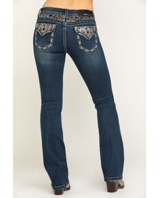 "Grace in LA Women's Dark Sequin Back Yoke 34"" Bootcut Jeans, Blue, hi-res"