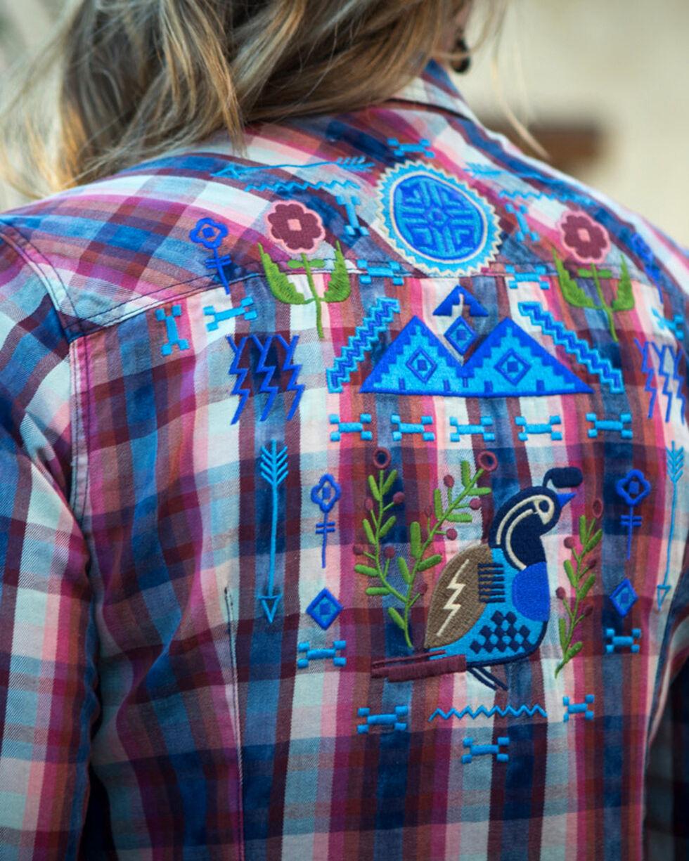 Ryan Michael Women's Indigo Embroidered Plaid Shirt , Indigo, hi-res