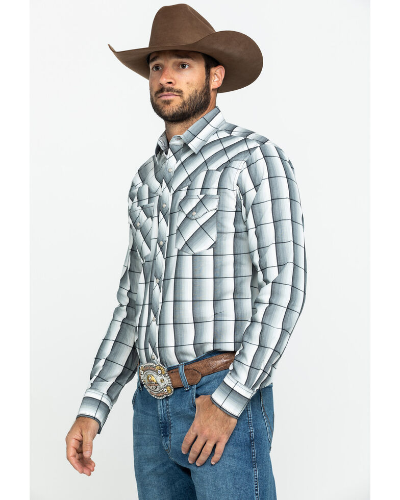 Wrangler Retro Men's Black Large Ombre Plaid Long Sleeve Western Shirt , Black, hi-res