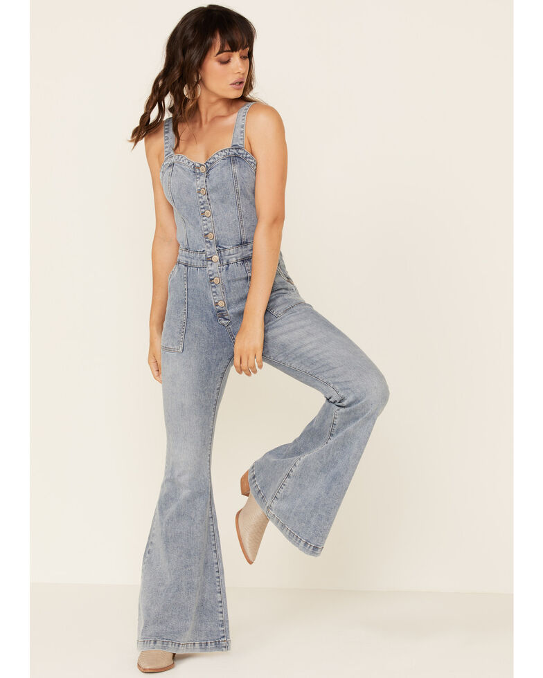 Rock & Roll Denim Women's Button Front Flare Overall, Blue, hi-res