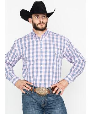 Resistol Men's Foothills Plaid Long Sleeve Western Shirt , Pink, hi-res