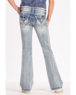Miss Me Girls' Butterfly Wing Bootcut Jeans, Blue, hi-res