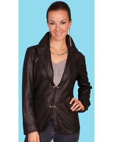 Scully Women's Featherlite Two Clasp Leather Jacket, Black, hi-res