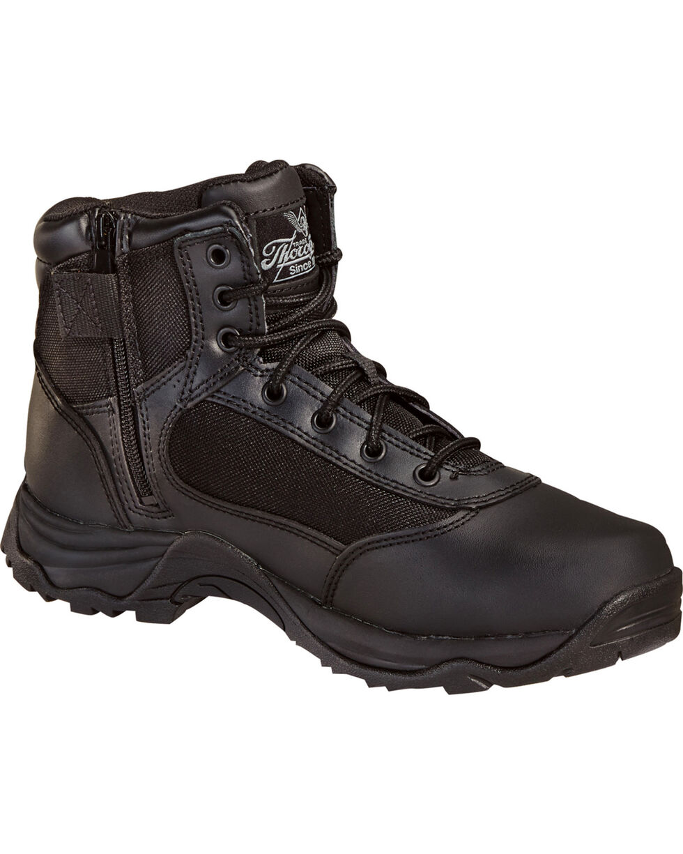 "Thorogood Men's 6"" Station Side Zip Boots, Black, hi-res"