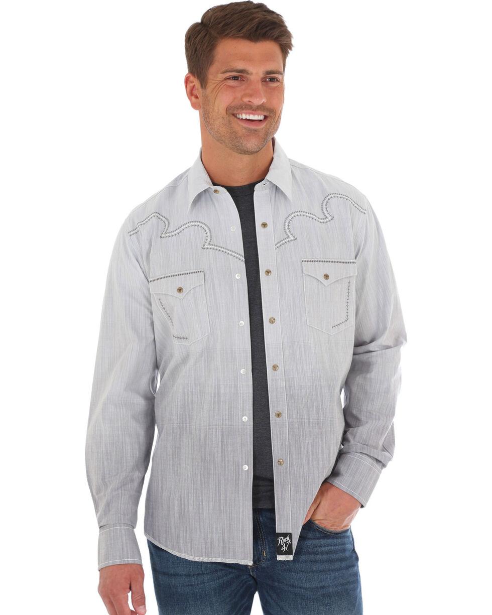 Wrangler Rock 47 Men's Grey Ombre Long Sleeve Snap Shirt, Grey, hi-res