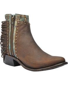 Corral Women's Distressed Stud Ankle Booties, Honey, hi-res