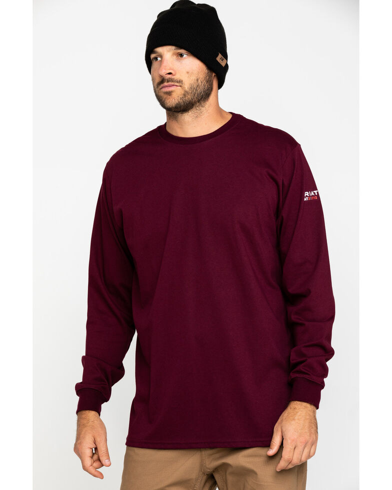 Ariat Men's Wine FR O&G Graphic Long Sleeve Work T-Shirt - Big , Wine, hi-res