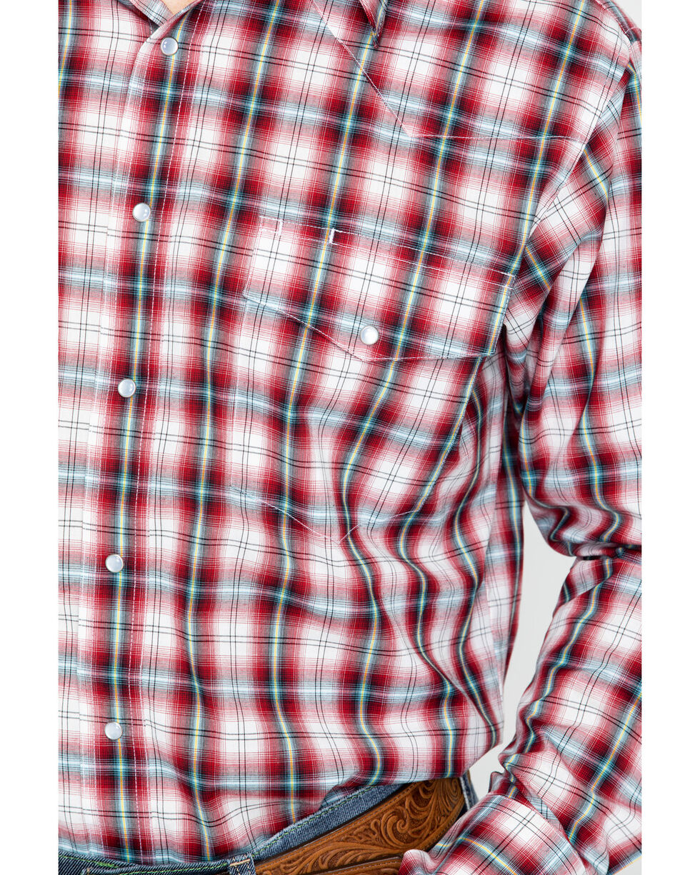 Wrangler Men's Western Woven Plaid Shirt - Big and Tall , Red, hi-res