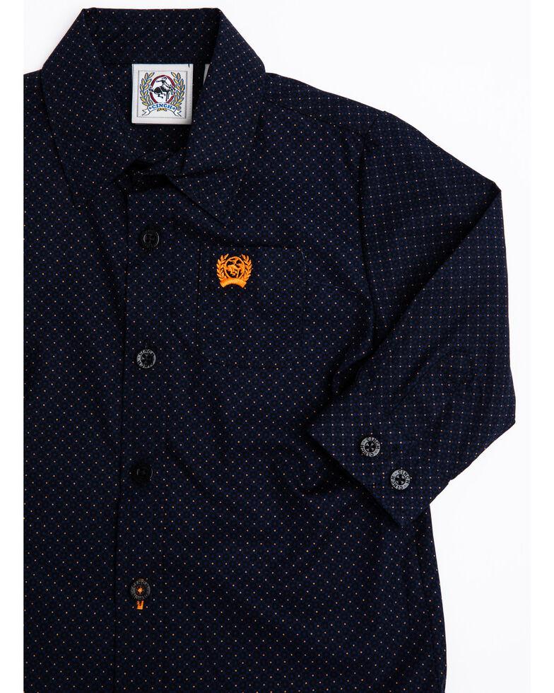 Cinch Boys' Multi Geo Print Button Long Sleeve Western Shirt , Navy, hi-res