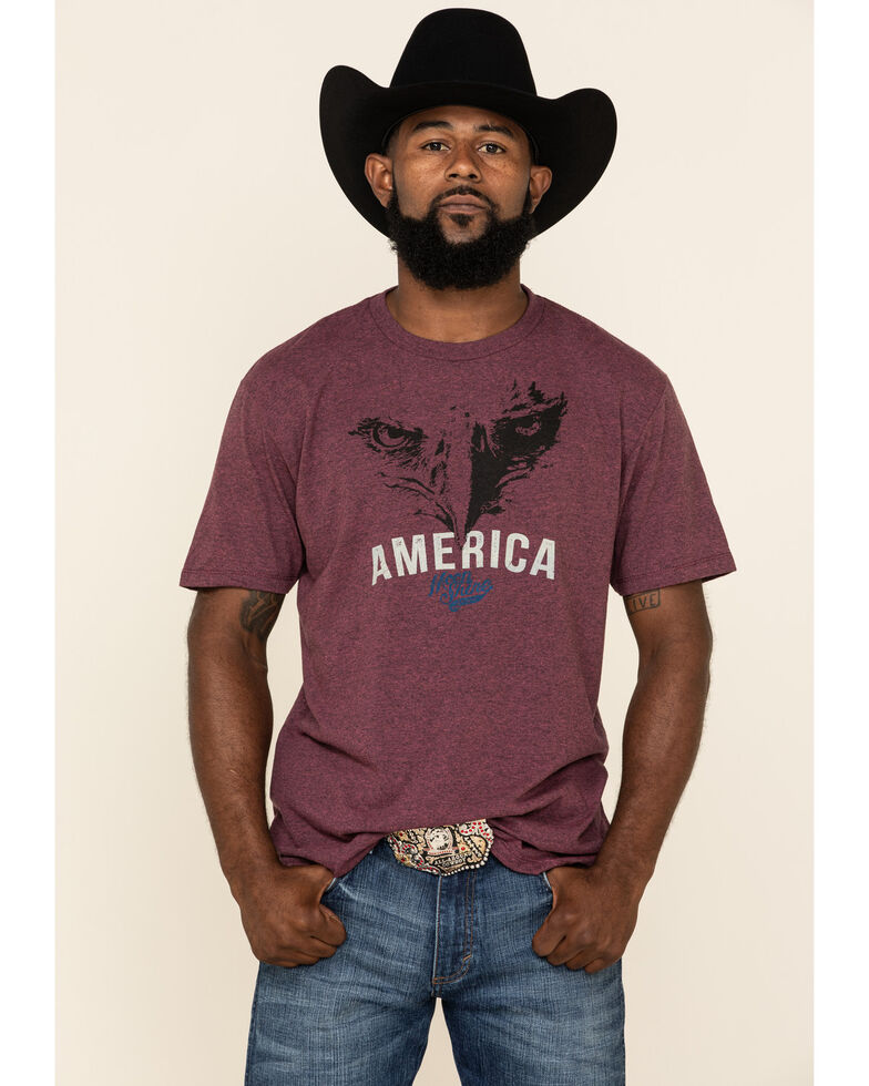 Moonshine Spirit Men's America First Graphic Short Sleeve T-Shirt , Burgundy, hi-res