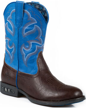 Roper Boy's Lightning Light-Up Western Boots, Brown, hi-res