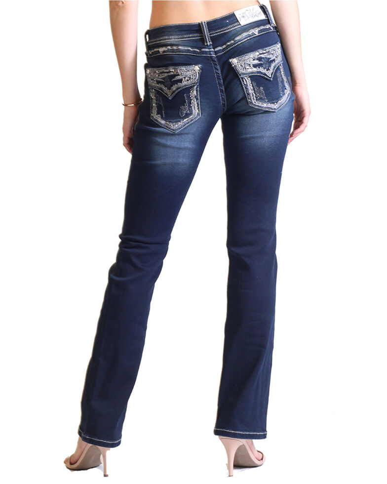 Grace in LA Women's Dark Wash Embroidered Flap Pocket Boot Cut Jeans for cheap
