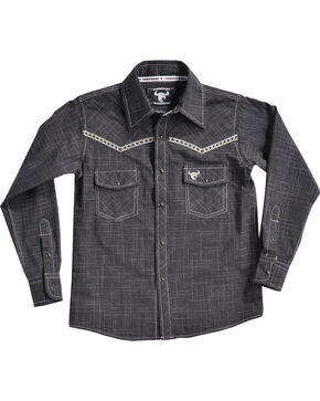 Cowboy Hardware Boys' Bucking Horse Burlap Print Long Sleeve Shirt , Black, hi-res