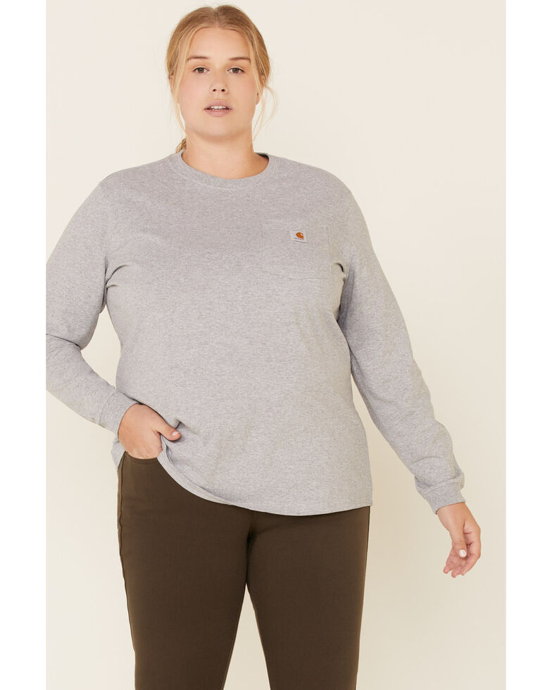 Carhartt Women's Workwear Pocket Long-Sleeve T-Shirt - Plus, Heather Grey, hi-res