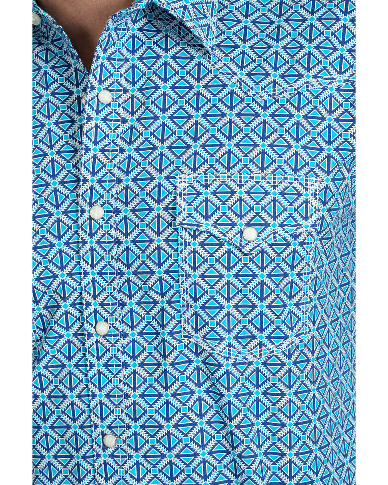 Wrangler 20X Men's Diamond Geo Print Advanced Comfort Long Sleeve Western Shirt , Blue, hi-res