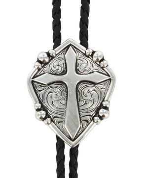 Cody James® Men's Cross Bolo Tie, Silver, hi-res