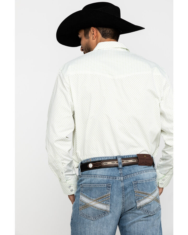 Resistol Men's White Destin Geo Print Long Sleeve Western Shirt , White, hi-res