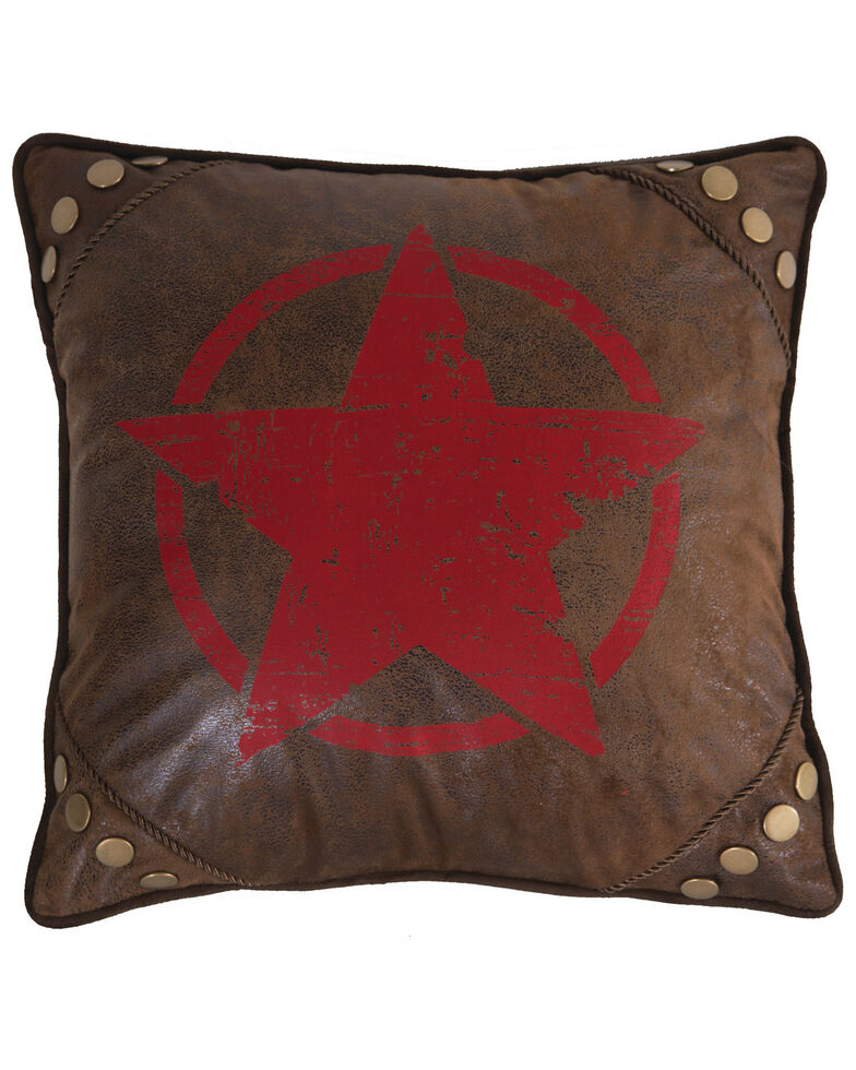 Carstens Home Wrangler Faux Leather Red Star Throw Pillow , Brown, hi-res