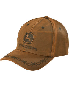 John Deere Embroided Barbwire Logo Ball Cap, Brown, hi-res