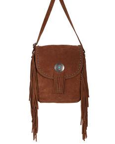 Scully Women's Leather Fringe Concho Studded Handbag, Tan, hi-res