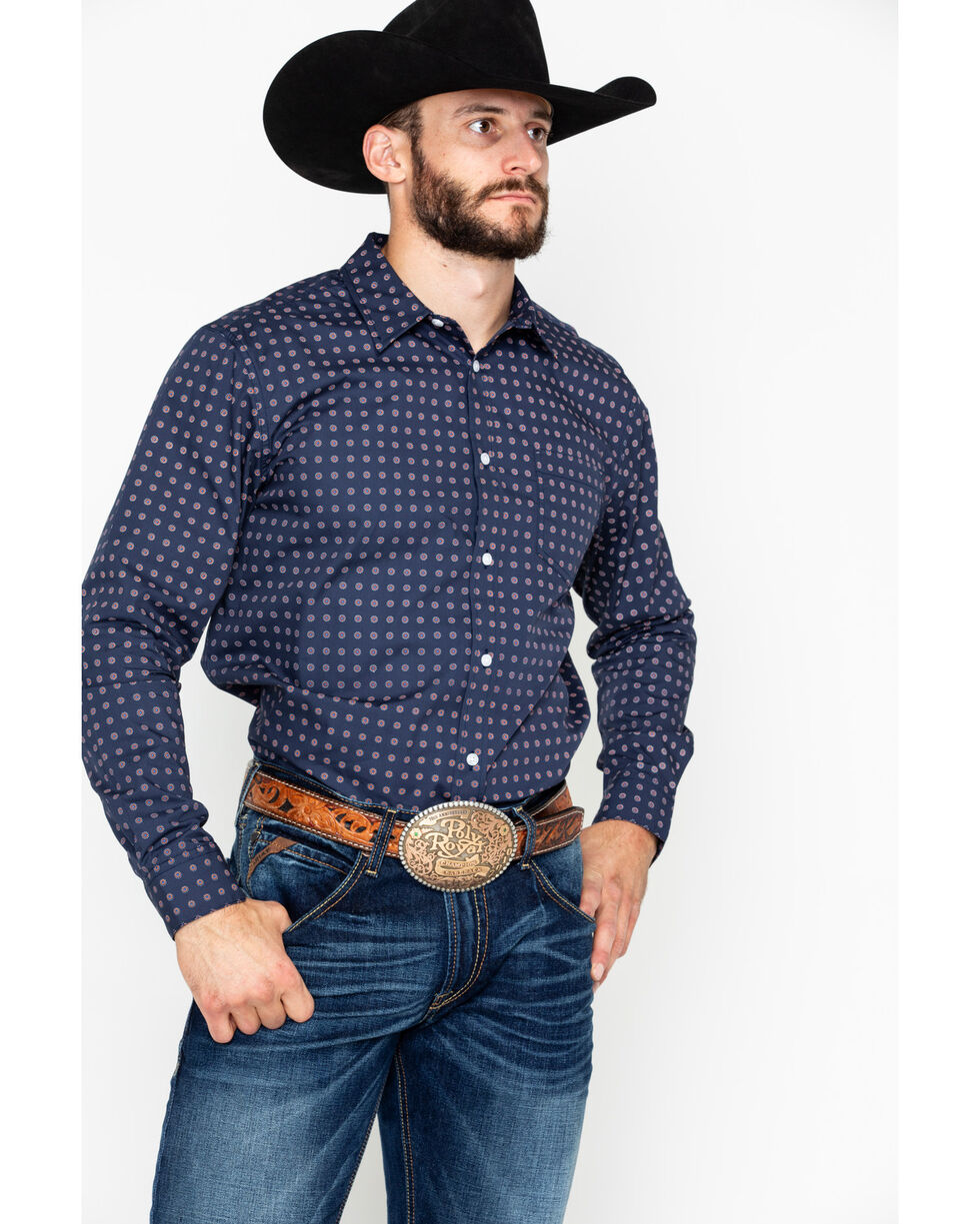 Gibson Men's Lola Geo Print Long Sleeve Western Shirt , Navy, hi-res