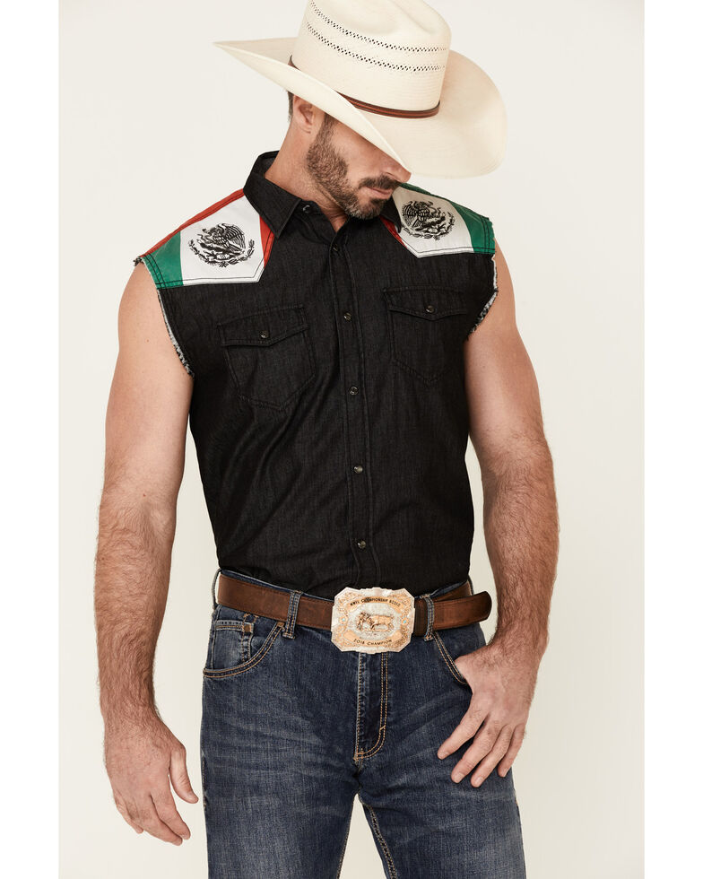 Cody James Men's Mexico Flag Bubba Sleeveless Snap Western Shirt , Black, hi-res